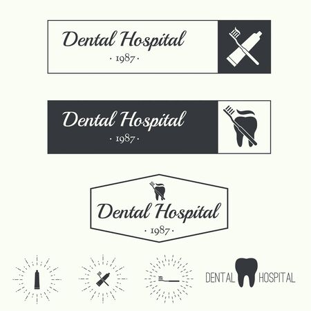 private hospital: Set of Vintage hipster banners, insignias, radial sunbusrt with tooth. Dental clinic, hospital, private practice. Minimal design. Outline. Illustration
