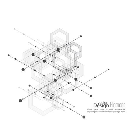 resumen de antecedentes virtual con partículas, estructura de la molécula con cubos transparentes, hexágonos canal. compuestos genéticos y químicos. Ciencia y concepto de conexión. Red social. vector Ilustración de vector