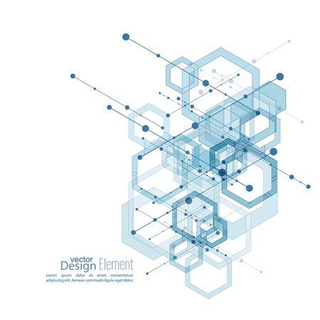 Fondo limpio abstracto con cubos transparentes, hexágonos canal. Diseño de Techno de futuro, el minimalismo. la tecnología, la ciencia y la investigación. células ciberespacio. Visualización de datos digital. azul, vector