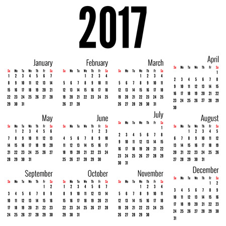 monthly planner: Monthly Calendar for 2017.  Simple month grid template. Vector Illustration