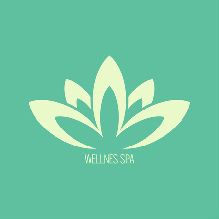 wellness environment: Abstract vector element. Lotus flower. Icon for beauty, healthcare, wellness, fashion, cosmetic, perfume, yoga emblem, herbal product, spa, massage salon. delicate color