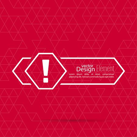 Exclamation mark blank template. Attention sign icon. Empty vector form.  information, text box, textbox on red background. Speech Bubbles. arrow,  pointer Иллюстрация