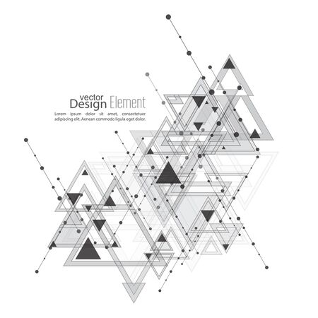 geometric shapes: Abstract vector background with geometric shapes intersecting. Diagonal lines with dots and translucent triangles. Ethnic, mystical symbol. hipster pattern. Black and white. Cosmic design. gray