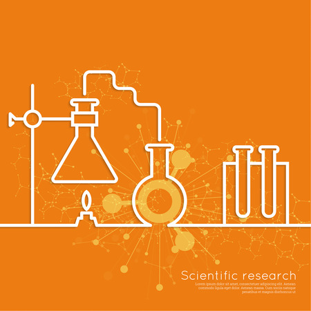 science scientific: The concept of chemical science research lab retorts, beakers, flasks and other equipment. Biological and scientific tests. discovery new technologies. minimal. Outline.