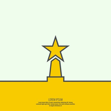 acknowledgment: The award, star winner on the podium. Concept of success, winning. minimal. Outline Illustration