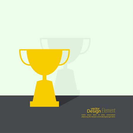 acknowledgment: Gold cup of the winner on  pedestal near wall with flat shadow. Abstract background. minimal. Illustration