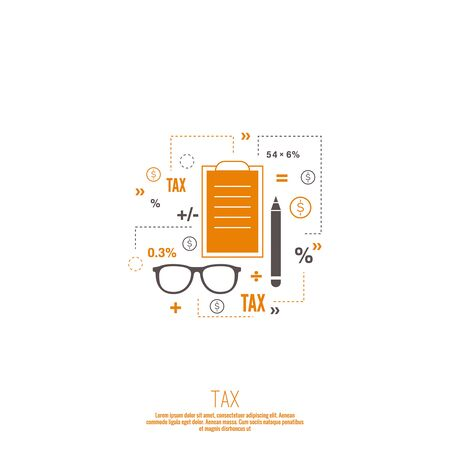 bank activities: Accounting and Taxes. The concept of counting profit business activities. Bank and stock calculations. Line art Illustration