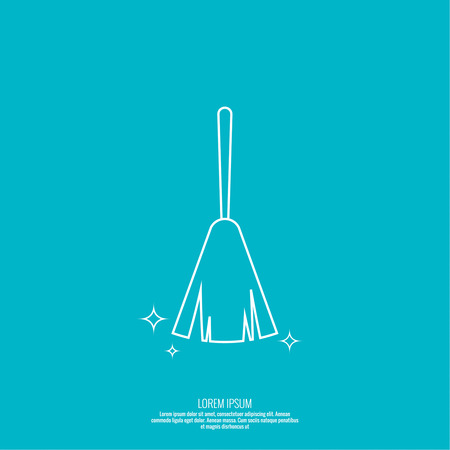 cleanliness: Vector icon hand brooms. Linear icon. Thin line. The concept of home cleaning and cleanliness. Feather duster to remove dust. The symbol of house cleaning.  outline icon. Illustration
