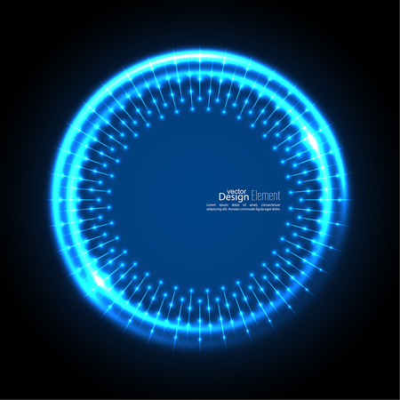 cerulean: Abstract techno background with spirals and rays with glowing particles. Tech design. Lights vector frame. Glowing dots.  blue, cerulean, cobalt, indigo, sapphire, ultramarine. Neon ring.