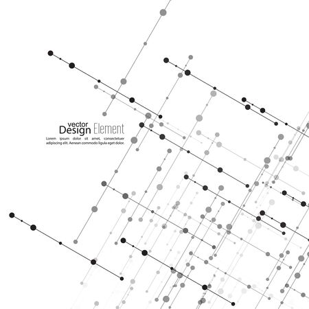 bases: Virtual abstract background with particle, molecule structure. The intersecting diagonal lines with dots. Black and white, sepia. Science and connection concept. The database information transfer Illustration