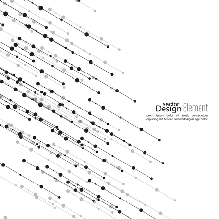 Virtual abstract background with particle, molecule structure. The intersecting diagonal lines with dots. Black and white, sepia. Science and connection concept. The database information transfer Illustration