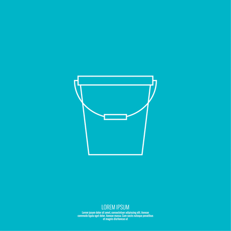 paint container: Vector icon bucket. container for water, sand, paint. Simple linear icon. Thin line. Bucket for washing and cleaning