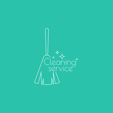 Vector icon hand brooms and house. Linear icon. Thin line. The concept of home cleaning and cleanliness. Feather duster to remove dust. The symbol of house cleaning. cleaning service.