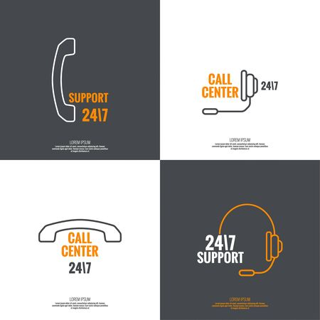 dialer: Set Abstract background with handset, handphone. Icon. Call technical support. 24, 7. helpline, support service. Contacts. vector. Flat design with shadow. minimal, outline, pictogram