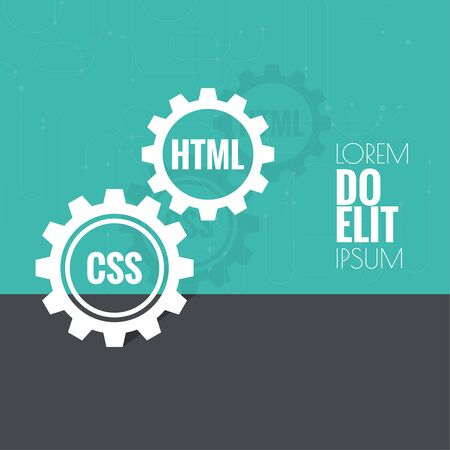 java script: The concept of creating Web project using programming languages, search engine optimization, promotion. Gears with lines and dots.