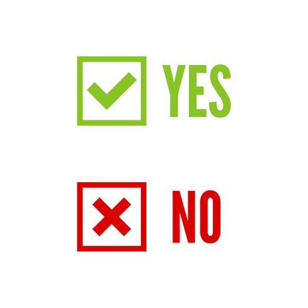 no pase: Banderas del vector con la confirmación de las marcas de verificación, aceptación positiva acuerdo de votación transcurrido cierto y forma de denegación de acceso, negándose, sí, no, casilla de verificación, cuadro