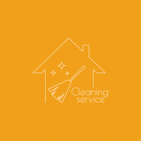 cleanliness: Vector icon hand brooms and house. Linear icon. Thin line. The concept of home cleaning and cleanliness. Feather duster to remove dust. The symbol of house cleaning. cleaning service.