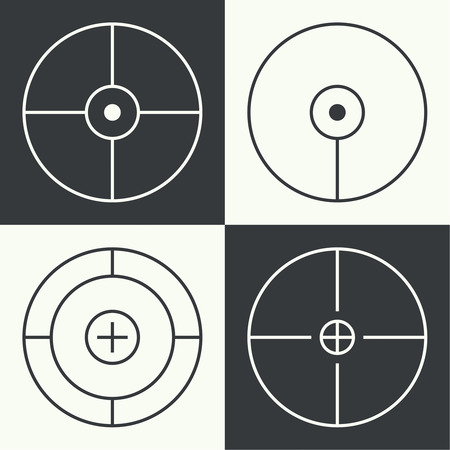 gunsight: set of different types of crosshair. Vector icon simple target. Different crosshair icons. Aims templates. Shooting marks and cross hairs. Vector aim.