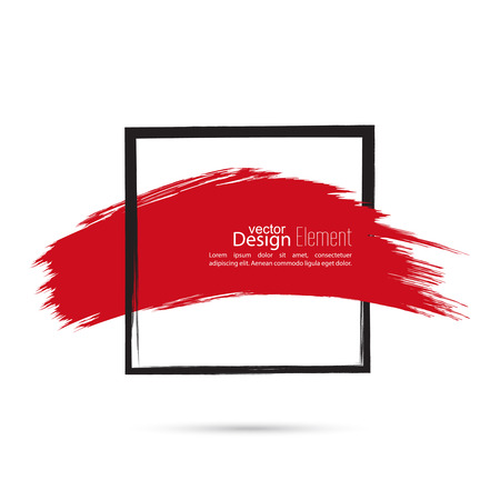 highlights: Abstract background with square banner and smear paint. Text box and frame with red smear. Vector hand drawn frame. Black square banner and  red smear. Frame template, layout