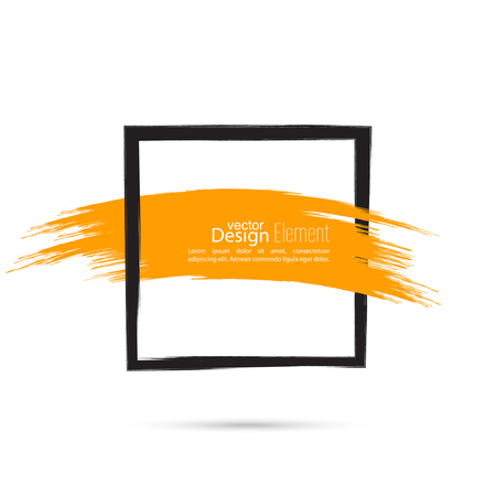 emphasis: Abstract background with square banner and smear paint. Text box and frame with yellow smear. Vector hand drawn frame. Black square banner and  red smear. Frame template, layout