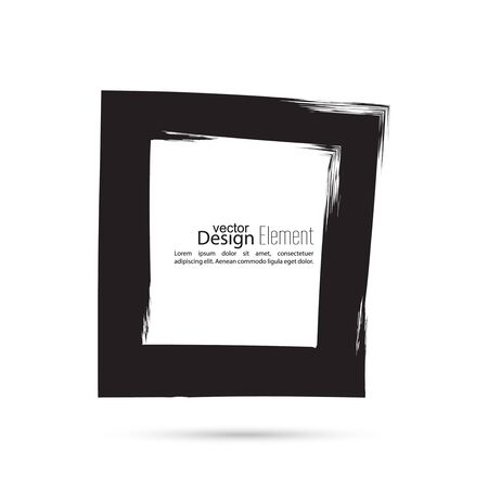 uneven edge: Hand drawn square, photo, foto frame. Text box and frame from black smears. Vector hand drawn frame. Black square border. Grunge Black banner frame. Illustration