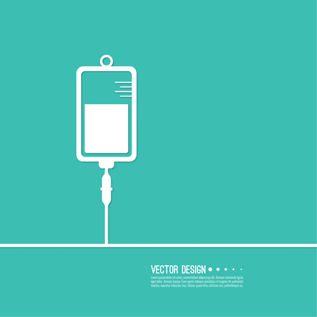 medical treatment: Vector iv bag icon. Saline symbol on background. Medical saline IV. The concept of treatment and therapy, chemotherapy. Modern vector design