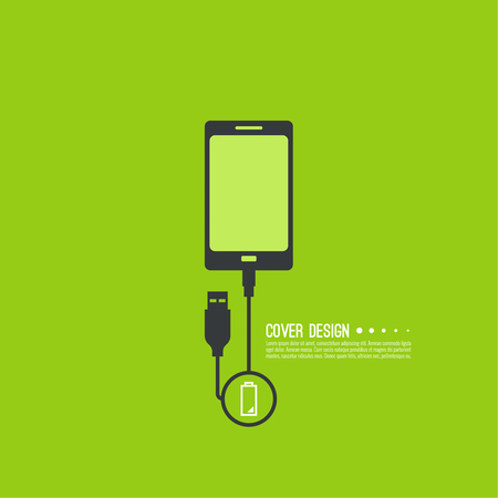 recharge: Abstract background with charge mobile phones. usb cable is connected to the phone. The concept charging. Vector. smartphone is connected usb cable power charging. Low power Illustration