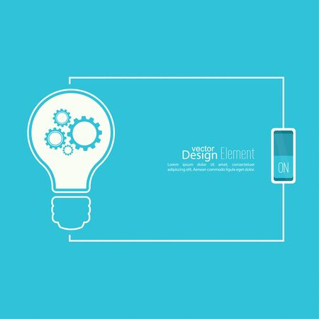 switch: Bulb light idea with switch and gears. concept of big ideas inspiration innovation, invention, effective thinking. inclusion of thinking. Text box.