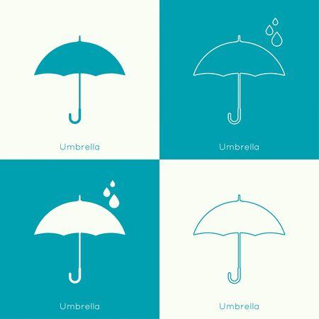 the natural phenomena: Umbrella sign icon. Rain protection symbol. Concept of protection and security, the rainy season. Spring, autumn, natural phenomena. vector. flat design. minimal. outline.