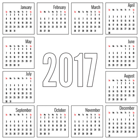 annual events: Monthly Calendar for 2017.  Simple month grid template. Vector. white Illustration