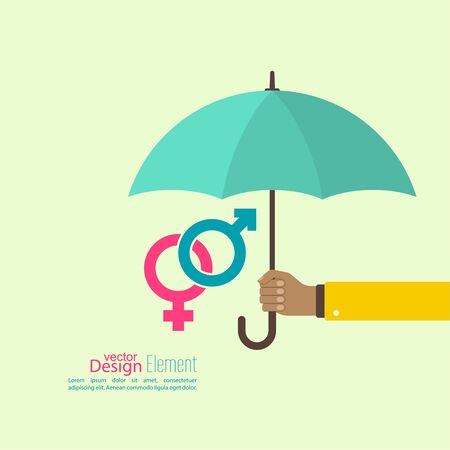 planificacion familiar: Mano masculina que sostiene un paraguas. El concepto de protección de la familia, la seguridad, la planificación, el tratamiento de las enfermedades de transmisión sexual.