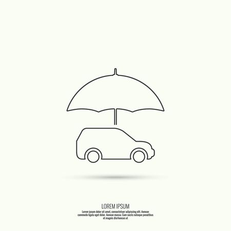 vehicle icon: Icon of the car under an umbrella. vehicle insurance concept Illustration