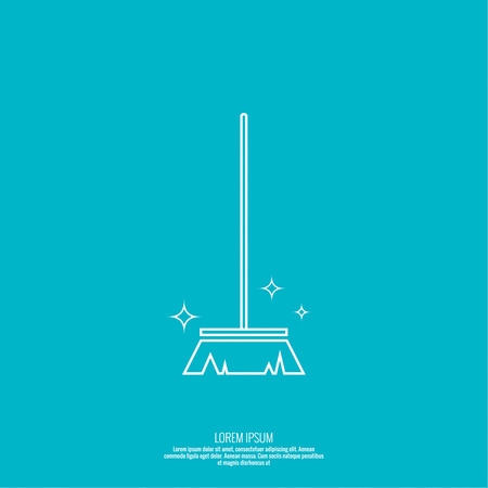 cleanliness: Vector icon brush for cleaning brooms. Linear icon. Thin line. The concept of home cleaning and cleanliness. The symbol of house cleaning.  outline icon. Brush for sweeping debris.