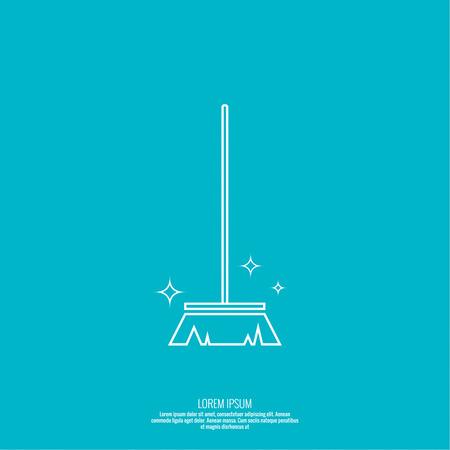 Vector pictogram borstel voor het reinigen van bezems. Lineaire icoon. Dunne lijn. Het concept van het schoonmaken van het huis en netheid. Het symbool van het huis schoonmaken. outline icoon. Borstel voor het vegen van puin.