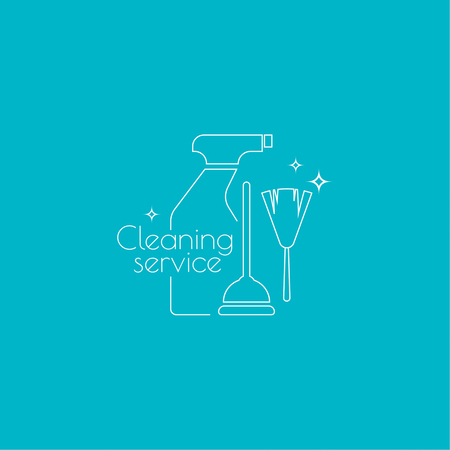 cleanliness: Vector icon hand brooms and plunger,  sprayer. Linear icon. Thin line. The concept of home cleaning and cleanliness. The symbol of house cleaning. cleaning pipe and toilet  service.