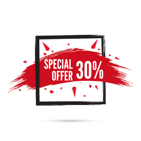 discount tag: Abstract background with square banner and smear paint. Vector tag. special offer, discount, price, sale. 30 percentage