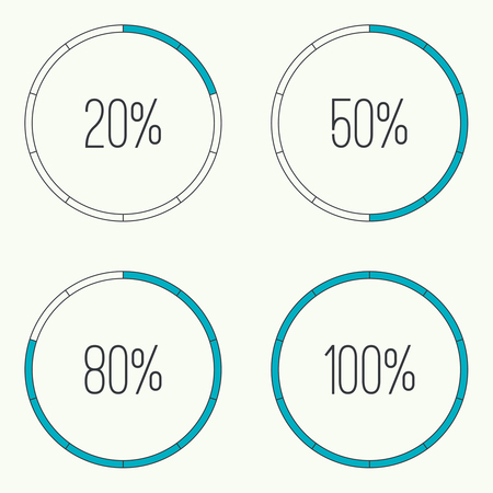 preloader: Set of vector downloaders. progress bar and loading icon. ui preloader web elements. Percent loading segments. Vector loading percentage. Round  circular loader bar