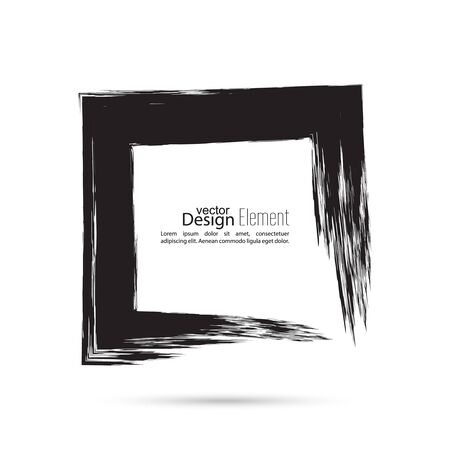 smears: Hand drawn square, photo, foto frame. Text box smears. Vector Black border. Grunge banner.