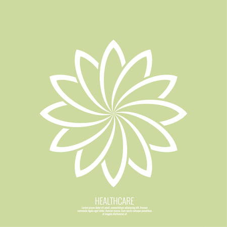 beauty icon: Abstract vector   element. Lotus flower. Icon for beauty, healthcare, wellness, fashion, cosmetic, perfume, yoga emblem, herbal product, spa, massage salon. delicate color Illustration