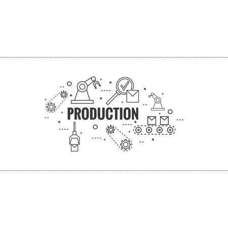 grasp: Thin Line Art Design. Linear vector set icons and elements.  Concept Production line, Assembly, development, robotic automatic conveyor manufacture. Illustration