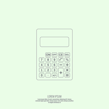 subtract: Calculator top view. Vector icon. Line art design Illustration