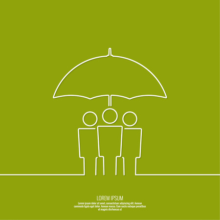 fellowship: Group of people under protection of umbrella. The concept of social networking, teamwork, union, community, fellowship. Outline. minimal Illustration
