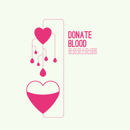 rh: Abstract background with heart and dotted lines. blood donation, help the sick and needy. Heart with drop of blood Illustration