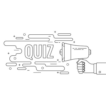 questionail: Hand holding a megaphone. Icon  loudspeaker with linear banner, text box. Notification through the speaker, advertisement bullhorn. Vector. Quiz. Illustration