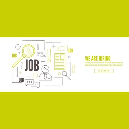 better icon: Recruitment. Concept search better candidate for open position. We are hiring, hr. Job offer. Wanted employee, staff. Vector linear icon. Illustration