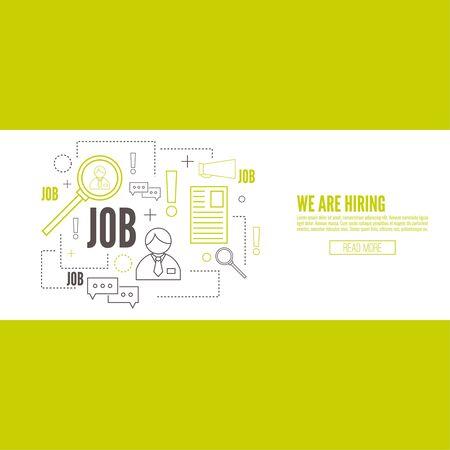 Recrutement. Concept de recherche meilleur candidat pour la position ouverte. Nous recrutons, hr. Offre d'emploi. employé Wanted, le personnel. Vecteur linéaire icône.