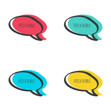 frame  box: Set hand drawn speech bubble. Vector frame. Text box. Multicolor, red, blue green yellow Illustration