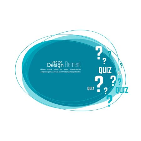 questionail: Question mark icon. Help symbol. Quiz vector. Banner roundish form. The concept is the question with the answer.