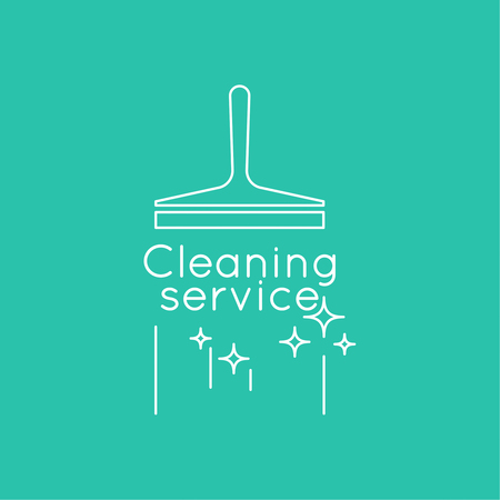 scraper: Abstract background with vector icon scraper for windows. Linear icon. Thin line. The concept of home cleaning and cleanliness. The symbol of house cleaning. cleaning service.