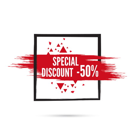 discount tag: Abstract background with square banner and smear paint. Vector tag. special offer, discount, price, sale. 50 percentage